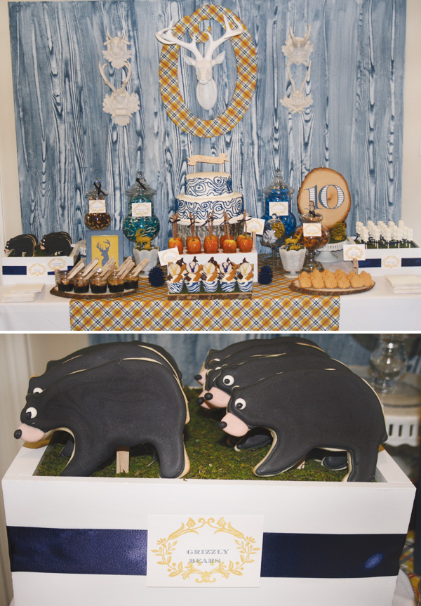 modern-woods-nature-party-dessert-table-grizzly-bears